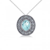 Aquamarine & Diamond Halo Oval Pendant Necklace 14k White Gold (1.17ct)
