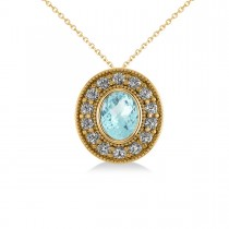 Aquamarine & Diamond Halo Oval Pendant Necklace 14k Yellow Gold (1.17ct)