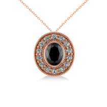 Black Diamond & Diamond Halo Oval Pendant Necklace 14k Rose Gold (1.18ct)