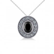 Black Diamond & Diamond Halo Oval Pendant Necklace 14k White Gold (1.18ct)