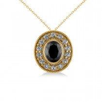 Black Diamond & Diamond Halo Oval Pendant Necklace 14k Yellow Gold (1.18ct)