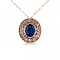 Blue Sapphire & Diamond Halo Oval Pendant Necklace 14k Rose Gold (1.42ct)