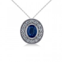 Blue Sapphire & Diamond Halo Oval Pendant Necklace 14k White Gold (1.42ct)