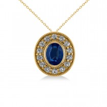Blue Sapphire & Diamond Halo Oval Pendant Necklace 14k Yellow Gold (1.42ct)