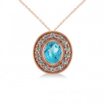 Blue Topaz & Diamond Halo Oval Pendant Necklace 14k Rose Gold (1.52ct)