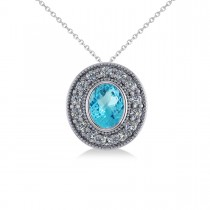 Blue Topaz & Diamond Halo Oval Pendant Necklace 14k White Gold (1.52ct)