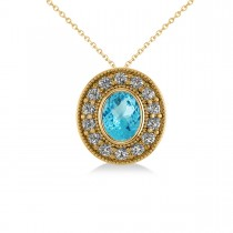 Blue Topaz & Diamond Halo Oval Pendant Necklace 14k Yellow Gold (1.52ct)
