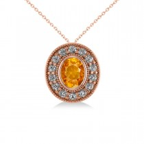 Citrine & Diamond Halo Oval Pendant Necklace 14k Rose Gold (1.27ct)