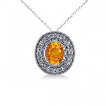 Citrine & Diamond Halo Oval Pendant Necklace 14k White Gold (1.27ct)