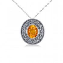 Citrine & Diamond Halo Oval Pendant Necklace 14k White Gold (1.27ct)