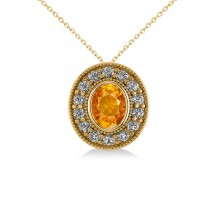 Citrine & Diamond Halo Oval Pendant Necklace 14k Yellow Gold (1.27ct)