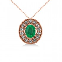 Emerald & Diamond Halo Oval Pendant Necklace 14k Rose Gold (1.27ct)
