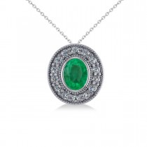 Emerald & Diamond Halo Oval Pendant Necklace 14k White Gold (1.27ct)