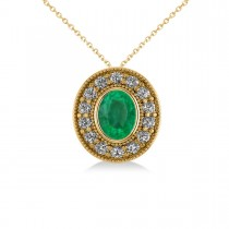 Emerald & Diamond Halo Oval Pendant Necklace 14k Yellow Gold (1.27ct)