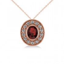 Garnet & Diamond Halo Oval Pendant Necklace 14k Rose Gold (1.42ct)