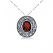 Garnet & Diamond Halo Oval Pendant Necklace 14k White Gold (1.42ct)