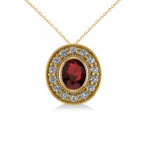 Garnet & Diamond Halo Oval Pendant Necklace 14k Yellow Gold (1.42ct)