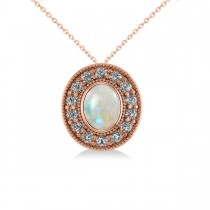 Opal & Diamond Halo Oval Pendant Necklace 14k Rose Gold (0.89ct)