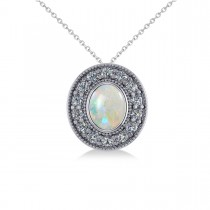 Opal & Diamond Halo Oval Pendant Necklace 14k White Gold (0.89ct)