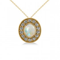 Opal & Diamond Halo Oval Pendant Necklace 14k Yellow Gold (0.89ct)