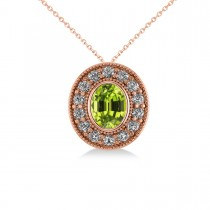 Peridot & Diamond Halo Oval Pendant Necklace 14k Rose Gold (1.37ct)