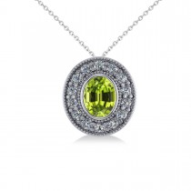 Peridot & Diamond Halo Oval Pendant Necklace 14k White Gold (1.37ct)
