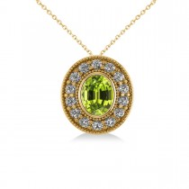 Peridot & Diamond Halo Oval Pendant Necklace 14k Yellow Gold (1.37ct)