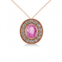 Pink Sapphire & Diamond Halo Oval Pendant Necklace 14k Rose Gold (1.42ct)