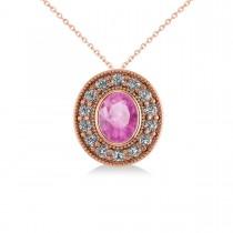 Pink Sapphire & Diamond Halo Oval Pendant Necklace 14k Rose Gold (1.42ct)