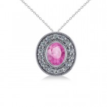 Pink Sapphire & Diamond Halo Oval Pendant Necklace 14k White Gold (1.42ct)