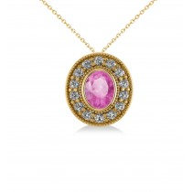 Pink Sapphire & Diamond Halo Oval Pendant Necklace 14k Yellow Gold (1.42ct)