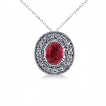 Ruby & Diamond Halo Oval Pendant Necklace 14k White Gold (1.48ct)