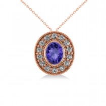 Tanzanite & Diamond Halo Oval Pendant Necklace 14k Rose Gold (1.31ct)