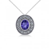 Tanzanite & Diamond Halo Oval Pendant Necklace 14k White Gold (1.31ct)