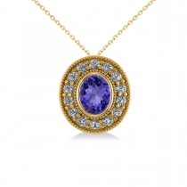 Tanzanite & Diamond Halo Oval Pendant Necklace 14k Yellow Gold (1.31ct)