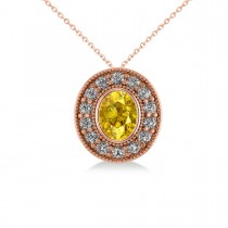 Yellow Sapphire & Diamond Halo Oval Pendant Necklace 14k Rose Gold (1.42ct)