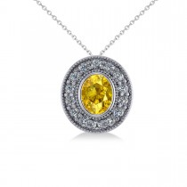 Yellow Sapphire & Diamond Halo Oval Pendant Necklace 14k White Gold (1.42ct)