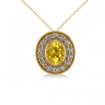 Yellow Sapphire & Diamond Halo Oval Pendant Necklace 14k Yellow Gold (1.42ct)