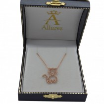 Diamond Cat Shaped Pendant Necklace 14k Rose Gold (0.27ctw)