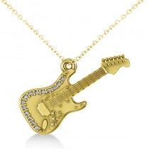 Diamond Guitar Music Pendant Necklace 14k Yellow Gold (0.07ct)