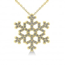 Diamond  Snowflake Pendant Necklace 14k Yellow Gold (0.66ct)