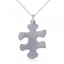 Puzzle Piece Pendant Necklace in Textured 14k White Gold