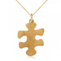 Puzzle Piece Pendant Necklace in Textured 14k Yellow Gold