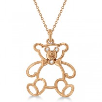 Bezel Set Diamond Teddy Bear Pendant Necklace 14k Rose Gold .03 ct