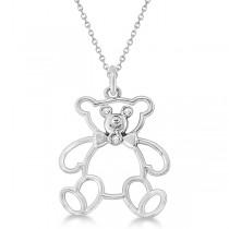 Bezel Set Diamond Teddy Bear Pendant Necklace 14k White Gold .03 ct