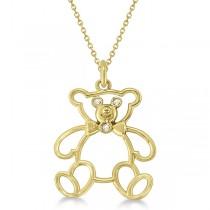 Bezel Set Diamond Teddy Bear Pendant Necklace 14k Yellow Gold .03 ct