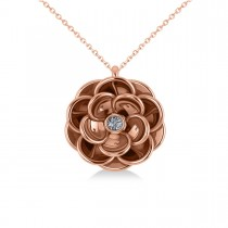 Diamond Round Flower Pendant Necklace 14k Rose Gold (0.05ct)
