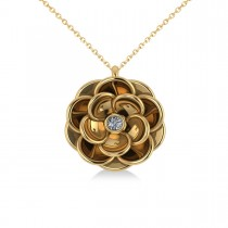 Diamond Round Flower Pendant Necklace 14k Yellow Gold (0.05ct)