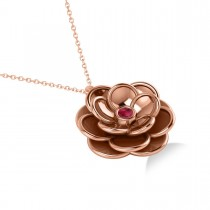 Ruby Round Flower Pendant Necklace 14k Rose Gold (0.05ct)