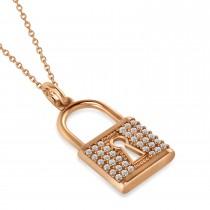 Diamond Lock Pendant Necklace 14k Rose Gold (0.36ct)